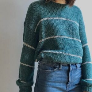 NWT LORD & TAYLOR TEAL KNIT SWEATER PUFFSLEEVE